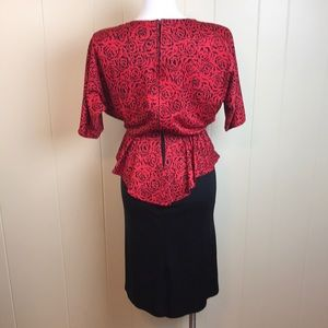 Vintage 70s/80s Disco Batwing Office Dress